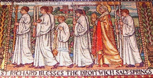 St Richard blesses the Droitwich Brine Springs - Mosaic in Sacred Heart Church, Droitwich Spa