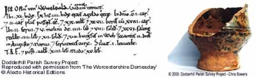 An extract from the Worcestershire Domesday, and a Mediaeval Malvernian pot found in Dodderhill