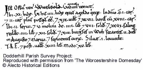 © Alecto Historical Editions - An extract from the Worcestershire Domesday