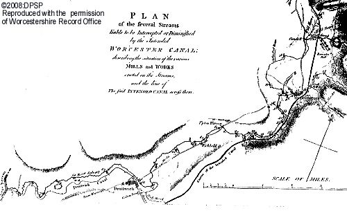 Part of the plan of the proposed Worcester Canal, showing the stretch from Upton Warren to Droitwich